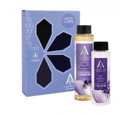 Coffret Essentiel corps composé de deux soins cosmétiques lavande