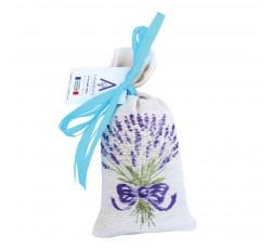 sachet écru avec bouquet de lavande brodé