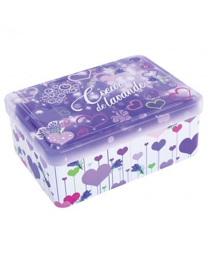 Grande boîte vide à savon - Décor Coeur de Lavande