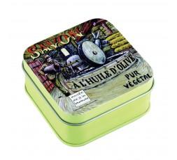 savon olive noire et boîte métal décor moulin à huile