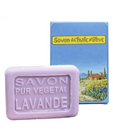 Savon Lavande 25 g et boîte cartonnée décor Sentier
